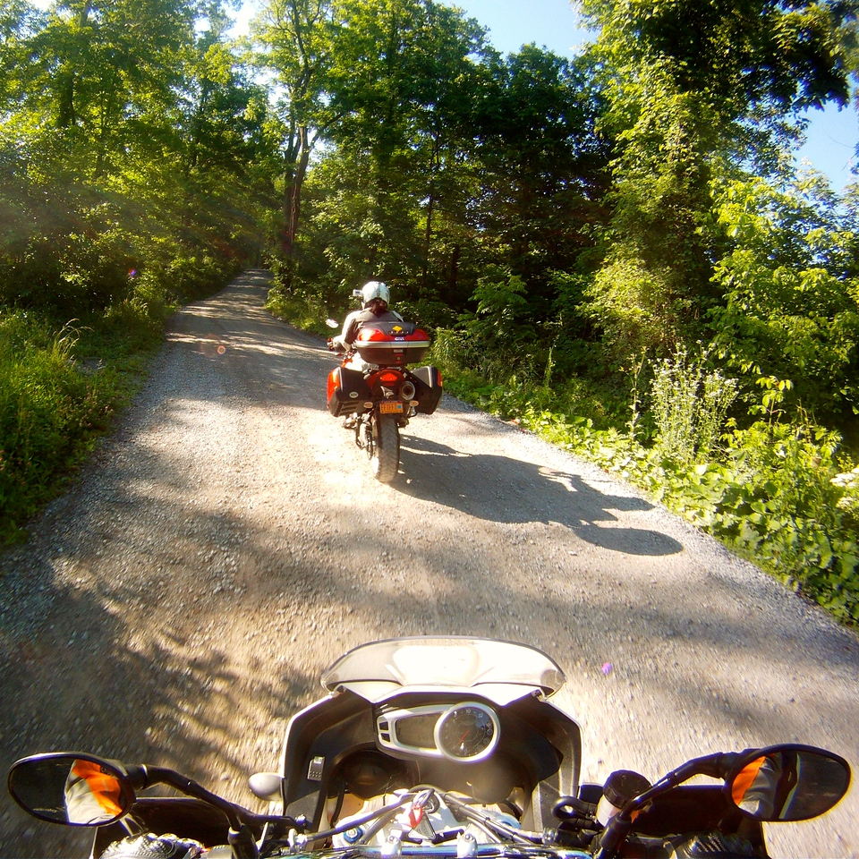 dusty virginia backroad on the triumph tiger