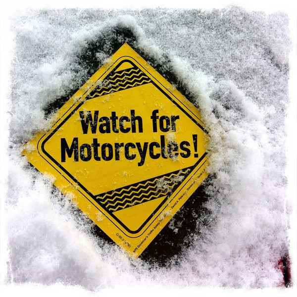Snowy watch for motorcycles sticker on my car