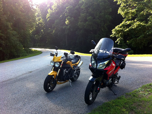 Speed Triple and WeeStrom on the Blue Ridge Parkway