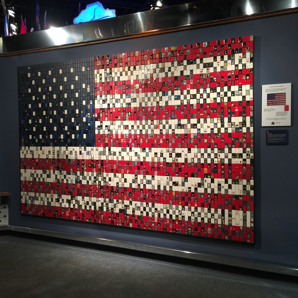 American flag made from Zippo lighters