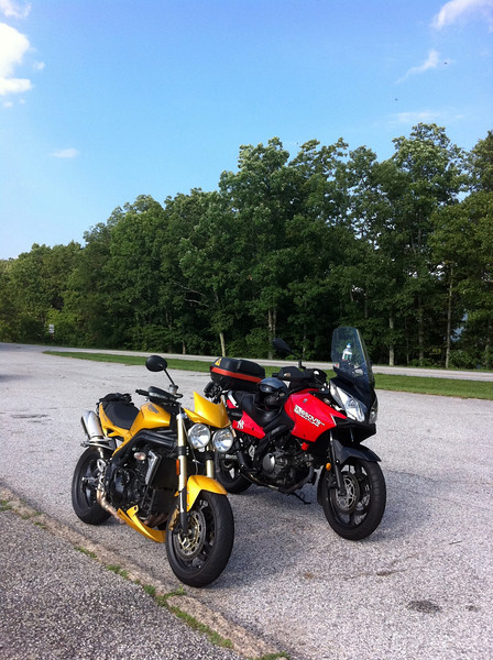 Speed triple and Weestrom on the Blue Ridge