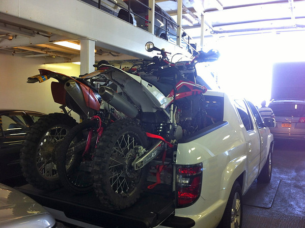 Bikes loaded in the truck