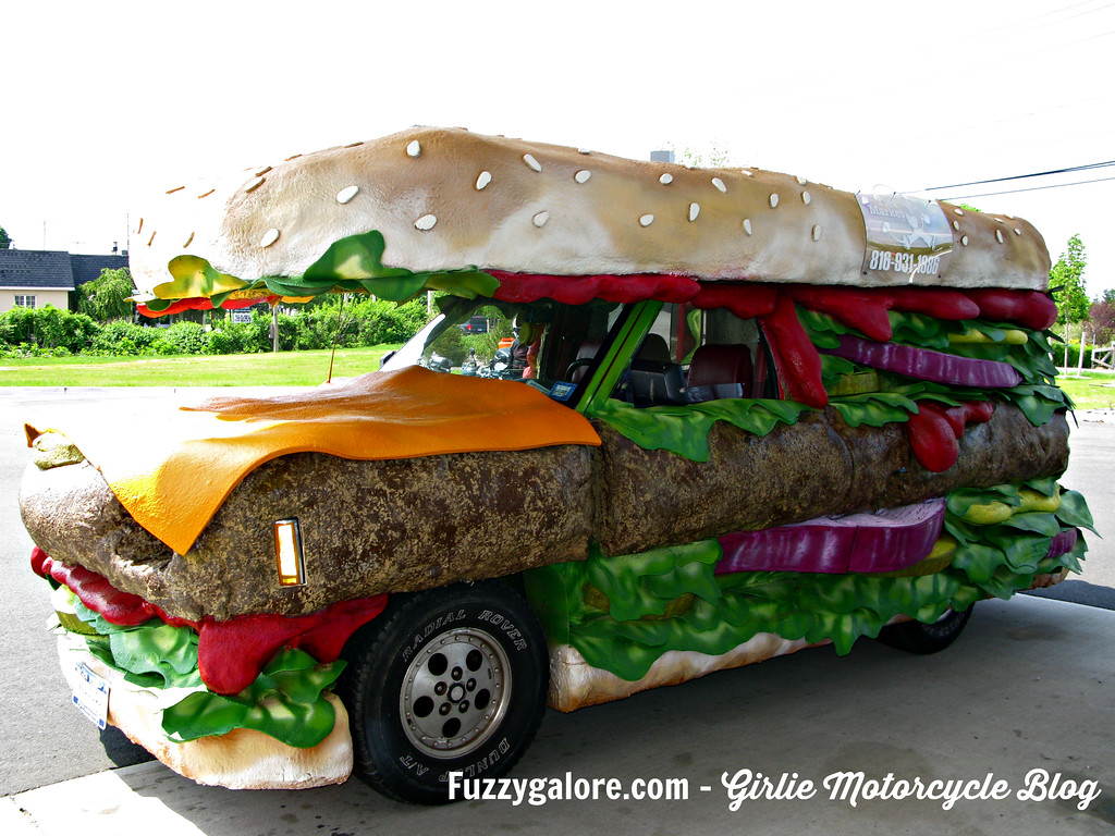 Hamburger art car spotted on Long Island