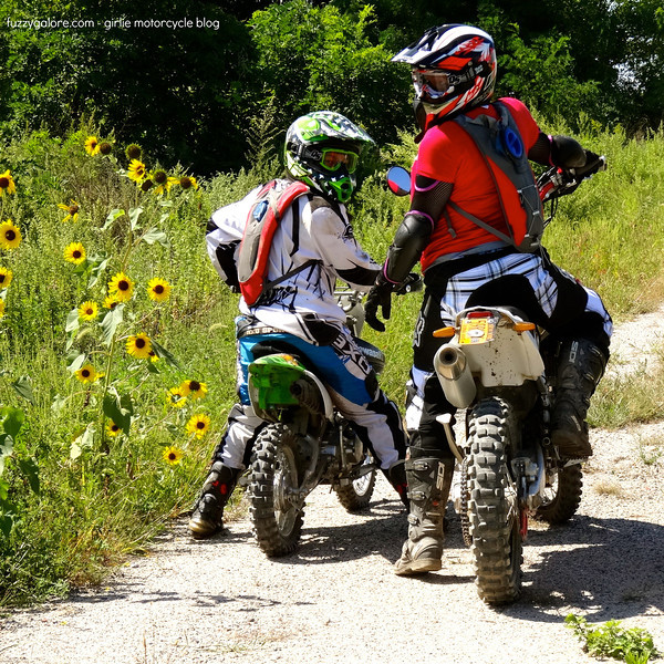 chloe and me on our dirt bikes
