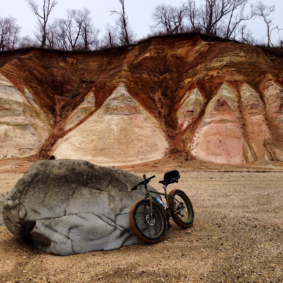 eroding cliffs at caumsett and a fatbike