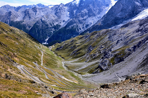 Looking down at the Stelvio Pass