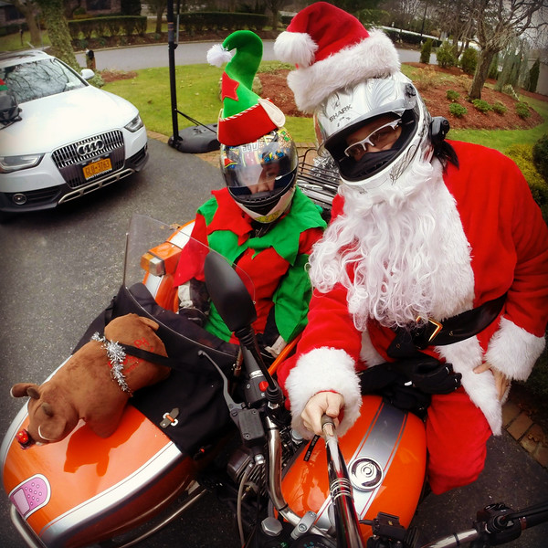fuzzygalore and elf - santa ride