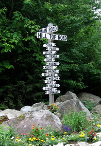 Maine World City Road Sign