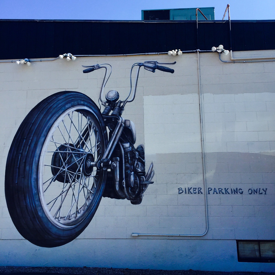 biker parking mural on route 1