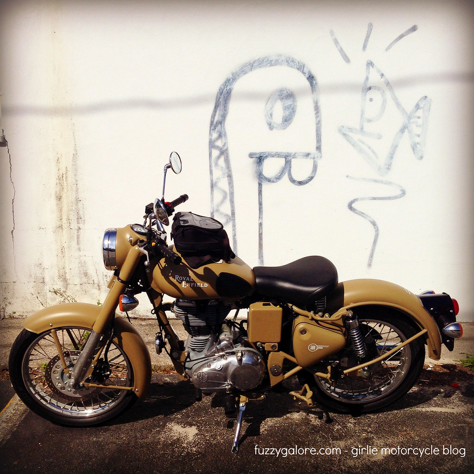 royal enfield with graffiti