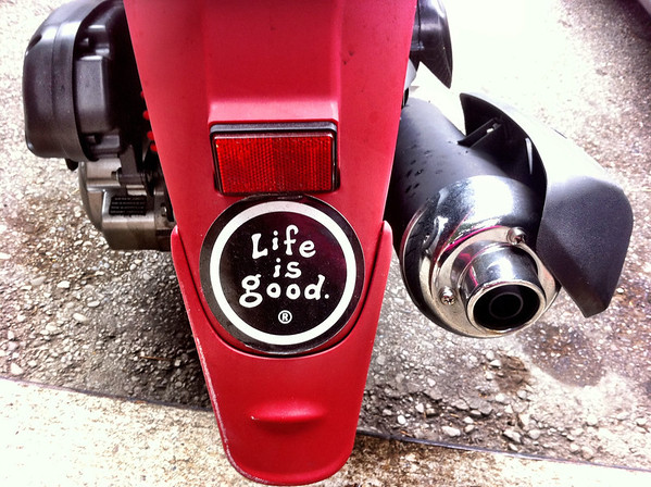 Life is Good Sticker on a scooter