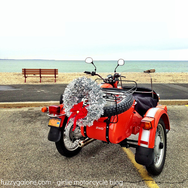 sweet orange Ural patrol with Christmas wreath
