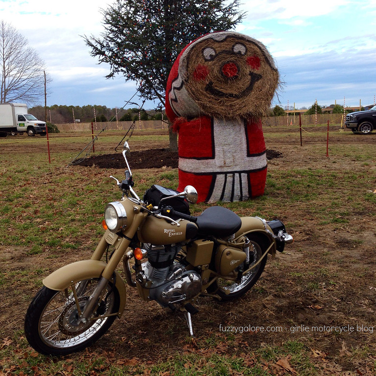 hay Santa and the Royal Enfield