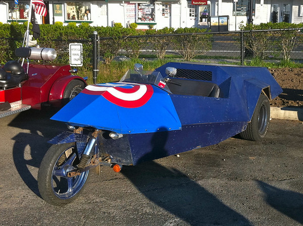 Captain America trike parked in Port Jefferson
