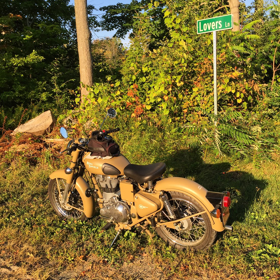 royal enfield on lovers lane