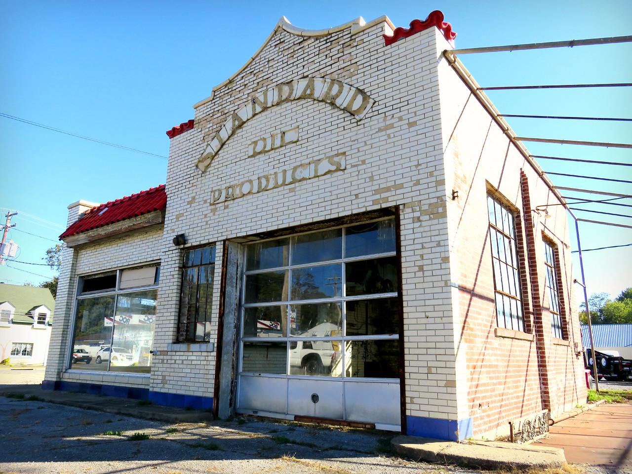 Vienna Illinois decaying Standard Oil Station - facade